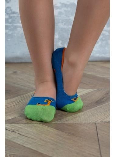 Katia & Bony Zürafa Desenli Görünmez Çocuk Çorap - Mavi Mavi